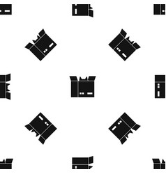 cat in a cardboard box pattern seamless black vector image vector image