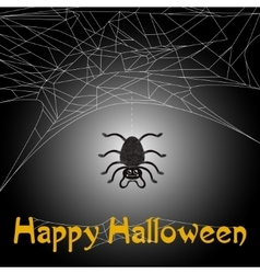Cute spider and web with Happy Halloween text vector image