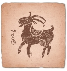 Goat Chinese Zodiac Sign Horoscope Vintage Card vector image vector image