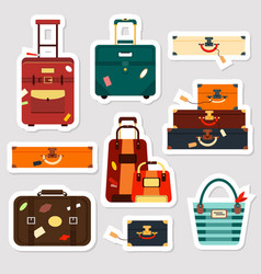 travel bags stickers and patches collection vector image