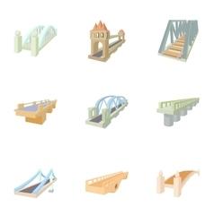Bridge transition icons set cartoon style vector image