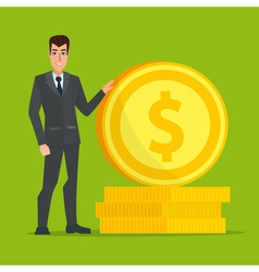 Businessman standing near a huge gold coin vector