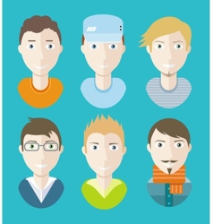 Man avatars characters on blue background vector image vector image