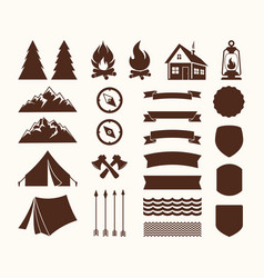 set of elements for the logo of the camp vector image