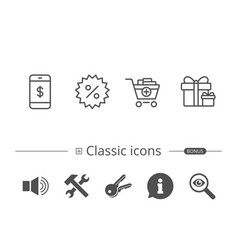shopping cart discount and smartphone icons vector image