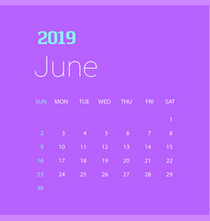 2019 happy new year june calendar template vector