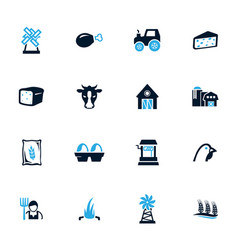 agriculture and farming icons set vector image