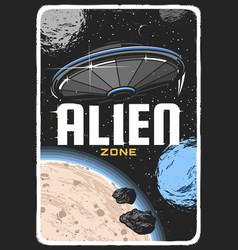 Alien ufo on planet orbit in space poster vector