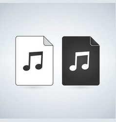 audio document file icon with music note flat vector image