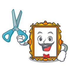 barber picture frame character cartoon vector image
