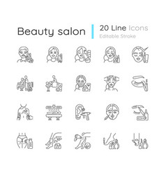 Beauty salon linear icons set vector