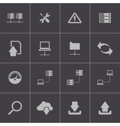 black FTP icon set vector image