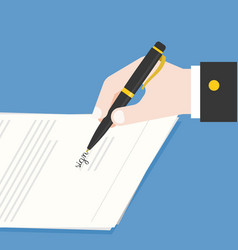 business hand holding ink pen signing contract vector image
