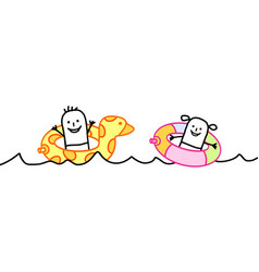cartoon kids in the sea with funny buoys vector image