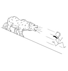 cartoon of businessman running down the hill from vector image