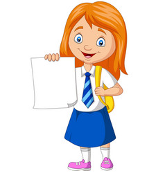 Cartoon school girl in uniform holding blank paper vector