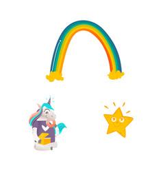 cartoon unicorn character isolated set vector image