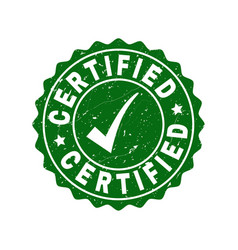 certified scratched stamp with tick vector image