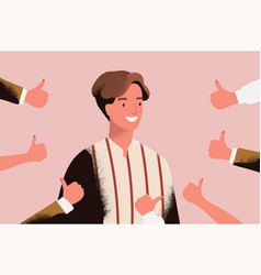 Cheerful young man surrounded by hands vector