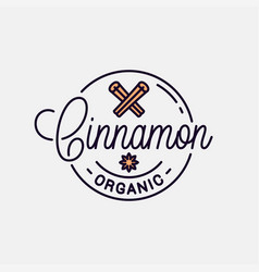 Cinnamon logo round linear logo stick vector