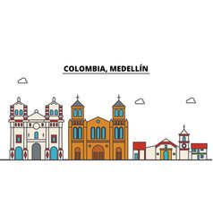 Colombia medellin outline city skyline linear vector
