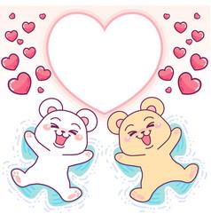 Cute bears angels in snow heart frame vector