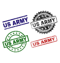 Damaged textured us army stamp seals vector