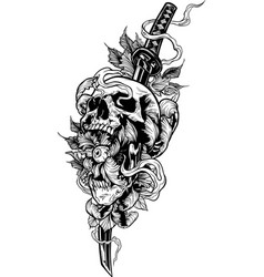 Detailed graphic human skull with katana sword vector