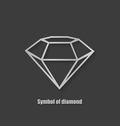 diamond symbol stylish with shadow on a black vector image