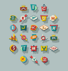 dimensional retro style signs alphabet vector image