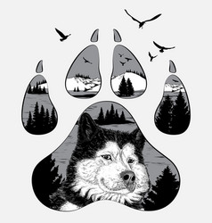 double exposure for your design wildlife concept vector image