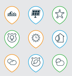 Ecology icons set with water stream solar time vector