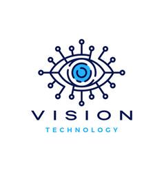 eye vision technology digital logo icon vector image