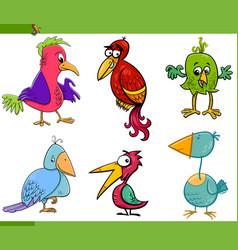 Fantasy birds cartoon set vector