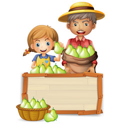 Farmer with pear on wooden banner vector