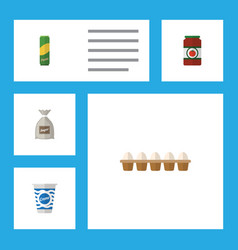 Flat icon meal set of eggshell box sack ketchup vector