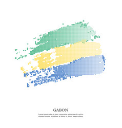 Gabon flag with halftone effect vector