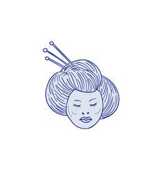 Geisha girl head drawing vector