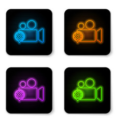 glowing neon movie or video camera and gear icon vector image