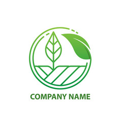 green nature farm logo design template vector image