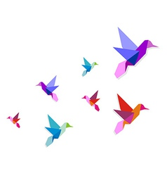 Group of various Origami hummingbirds vector image