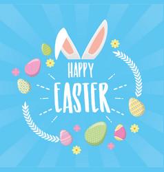 happy easter ears flowers eggs vector image