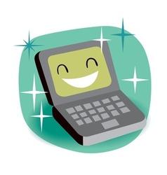 Happy laptop vector image vector image