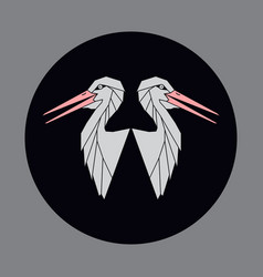 icon of a two bird a stork or crane vector image