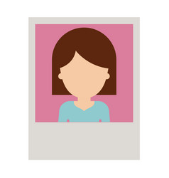 Identification photo of faceless woman with hair vector