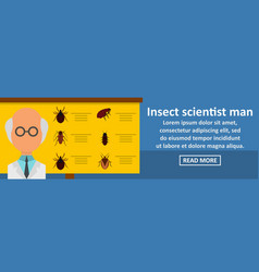 Insect scientist man banner horizontal concept vector