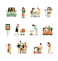 Internet Addiction Decorative Icons Set vector