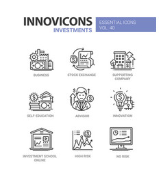 Investments - modern line design icons set vector