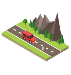 isometric countryside summer road car goes vector image