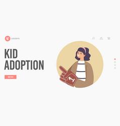 Kid adoption custody and childcare landing page vector